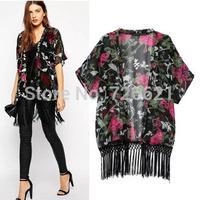 2015 Summer New Vintage Retro Women Ethnic floral tassels Loose Kimono Sunset Chiffon Cardigan Chiffon Blouse Outwear