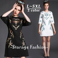 L-5XL Brand Women Vintage Luxury Embroidery Half Sleeve Knee-Length Casual Dresses 2015 Spring Plus Size Jacquard Dress 8008
