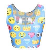 New Fashion Cute Women Fashion Crop Tops Shorts Girls Emoji T-Shirts Smile Face Print Tops Cheap Clothes