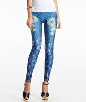 2014 New Arrival Women Designed digital Printed milk vintage blue Leggings slim pants