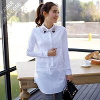 2015 New Vintage Blouses for Women Korean Plus Size Diamond Office Woman Blusas WorkWear Lady Long Shirt Tunics White,Pink S~XXL