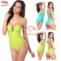 New 2015 Sexy Deep V Bikini Brazilian Vintage Biquini Women Halt Top Swimwear Push Up Swimsuit Bra Padded Bathing Suit Bikinis