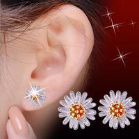 New Arrival Cute Sunflower Stud Earrings For Women Luxury 925 Sterling Silver Earrings Bijoux Free Shipping