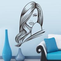 Housewares Beauty Salon People Woman Model Face Straight Long Hair Wall Vinyl Decal Sticker Home Interior Decor   8341