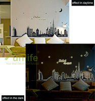 Funlife Bubai City of Gold Indian Silhouette Outline Sketch Flueorescent DIY Wall Sticker Removable Decal Skyline WS69ABQ9616