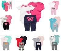 New 2015 Cute boy's girls casual top +bodysuit +pants 3pcs set fashion outwear suit spring infant clothes rompers