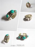 R211  Tibetan silver inlaid 3 Green Turquoise beads open adjustable rings Wholesale Tibet original Rings