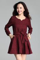 new spring 2015 loose waist ramie cotton long sleeve dress big yards plus size dress 3656
