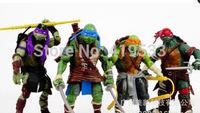 Free Shipping NEW Anime Cartoon TMNT Teenage Mutant Ninja Turtles PVC Action Figure Toys Dolls 4pcs/set for children friend gift