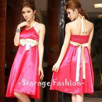 Korean Ladies Short Ribbon Bow Halter Party Dresses Spring Summer Women Elegant Formal Dress Female Sleeveless Dress 9416