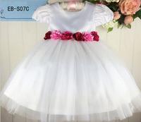 Wholesale Pretty Flower Girl' Dresses Satin Flower Short Sleeve Tutu Dresses Children Party Dress Elegant Kids' Dance Dress
