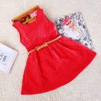 2015 Summer Baby Girls Dresses Fashion Lace Vest Kids Dress With Belt Fashion Children's Clothing Princess Dress c20