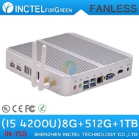 Fanless haswell i5 4200u  with Intel Core i5 4200U 1.6Ghz Haswell Architecture SOC design 8G RAM 512G SSD 1TB HDD windows Linux