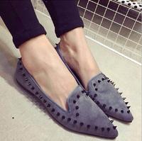 New 2015 Women Flats Shoes Vintage Rivet Moccasins Nubuck Leather Zapatos Mujer Shose Maternity Sapatos Femininos Casual Shoe