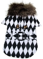 Red Black Fashion Louis Checkerboard Hats Design Pet Dog Winter Coat Thick Warm Fur Collar Jacket Clothing Dog Clothes S M L XL