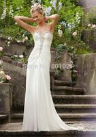 Elegant Gown Sheath DIAMANTE BEADED EMBROIDERY DELICATE CHIFFON Bridal Wedding Dresses Gown 2015