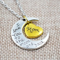 """choker necklace """"I Love You To The Moon and Back"""" Pendant Necklace  ,Two-Toned Antique Silver Gold Flashed Heart Family Members"""