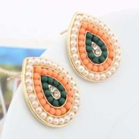 Promotion! Wholesale! Fashion lady women earrings jewelry elegant colorful beads rhinestone water drop styel stud earrings ER549