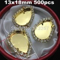 500pcs Cameo Rhinestone Caps,Metal Rhinestone Button Caps Inner 13x18mm pear gold Setting Blank/Tray,1 Row Of Clear Rhinestones