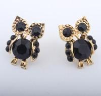 Promotion! Wholesale! Fashion lady women earrings jewelry vintage black rhinestone owl stud earrings  ER550