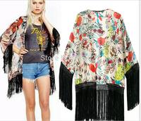2015 New Fashion lady floral Pattern tassel Cape vitage loose Outwear Blusas women casual slim kimono cape clothes