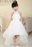 2015 new children's dress girls dress Bra pearl belt decoration long paragraph trailing white gauze dress child free shipping
