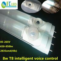 Free shipping 100pcs T8 led sensor tube light 8w led tube t8 600mm 650-850lm 2ft led t8 85-265v voice contral pir sensor light