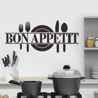 Bon appetit with fork and spoon - Bon Appetit Kitchen Wall Art - Vinyl Decal - Housewares - Kitchen Sticker  8344