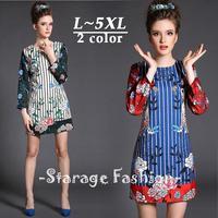 L-5XL Brand Elegant Ladies Plus Size Floral Printed Long Sleeve Dress 2015 Spring Summer Casual A-Line Big Size Dresses G388