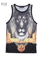 [Magic] Hot design new made for men tank tops Golden Chain crown Lion 3d vest Grid Breathable absorbent active tanks V12 M-XXL