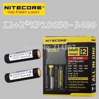 Free shipping original NITECORE I2 intelligent digital battery charger + 2 pcs keeppower KP 18650 3400mah rechargeable batteries