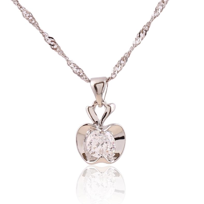 2015 Hot Wholesale Sales Spring Season 925 Silver, Zircon Charm Christmas apple Necklace White Cubic Zirconia Fashion Jewelry(China (Mainland))