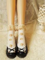 Princess sweet lolita socks Japanese forest Vintage golden embroidery lace cotton short socks flower heap soks young girl