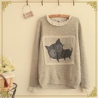 Winter women's kitten applique lace buckle pullover sweater