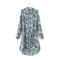 New Fashion Women dress Hot Selling Loose long-sleeve floral Printed Chiffon dress spring-Summer with belt