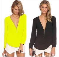 charming chiffon sexy Long sleeve v-neck T-shirt Temperament of women's clothing S M L XL  free shipping