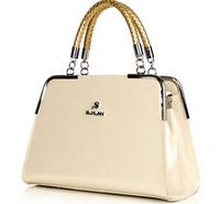 NO.1 New 2015 Patent Genuine Leather Handbags Fashion Women Messenger Bags Plaid OL Women's Handbags Tassel Shoulder Bolsas SJ08
