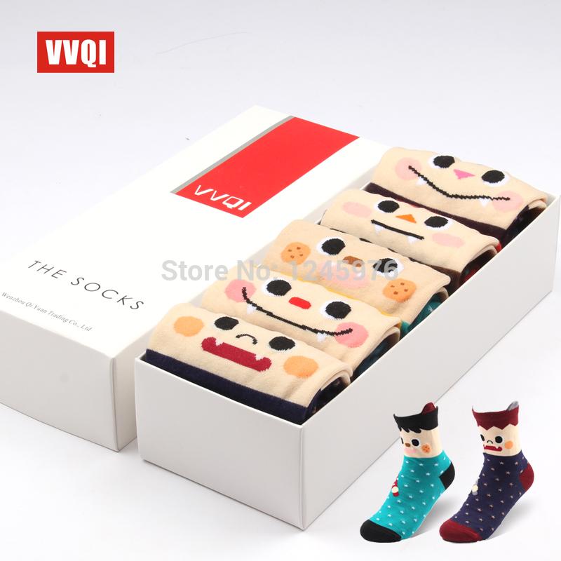 Hot sale Vvqi 5 double=10pcs gift box set lilliputian cartoon halloween autumn and winter women's socks good gift love Free shop(China (Mainland))