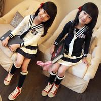 New 2015 summer navy baby girls clothes 3 pieces set children's clothing dress roupas infantil meninas disfraces infantiles