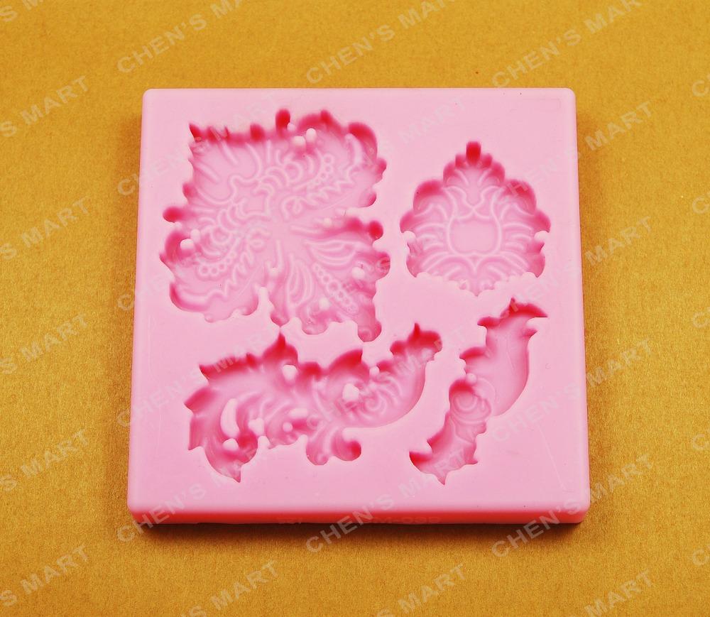 Cake Tool 1 pc leaf lace border vintage cake decorating flower silicone fondant mold Valentine(China (Mainland))