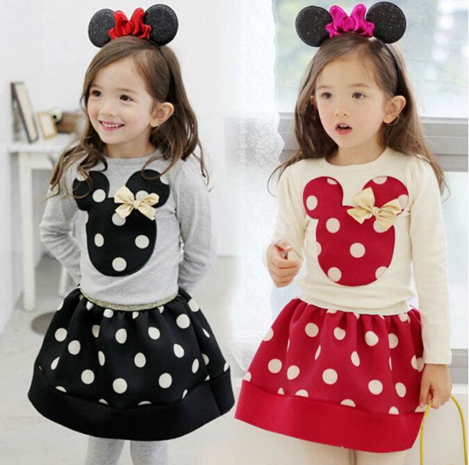 New Fashion 2015 Spring Autumn Long Sleeve Bow Ploka Dot Girls 2PC Set Dress Children T Shirt + Skirt Kids Clothing Set(China (Mainland))
