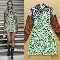 High Quality New Fashion European Style 2015 Spring Women Sexy Wild Leopard Print Long Sleeve Casual Dress Elegant Bow Dress
