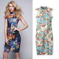 2015 Spring & Summer Fashion Floral Printed Mini Bodycon Dress for Women Sleeveless Slim Stretch Cheongsam Qipao