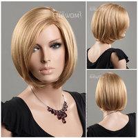 Free Shipping Fanshion Girls Lady Woman Hairpiece Beautiful Classic Bob Hair Wig 12'' Blonde Straight Short Bobo Wigs W3640
