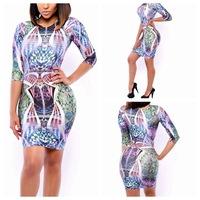 YH sexy dress sexy dress fashion trade nightclub explosion models printed skirt YH9035