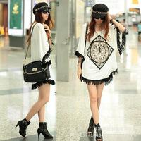 Korean Women's Fringed Hem Loose Short Sleeve Long Batwing Shirt Ethnic style Blouse Casual T-shirt Tops
