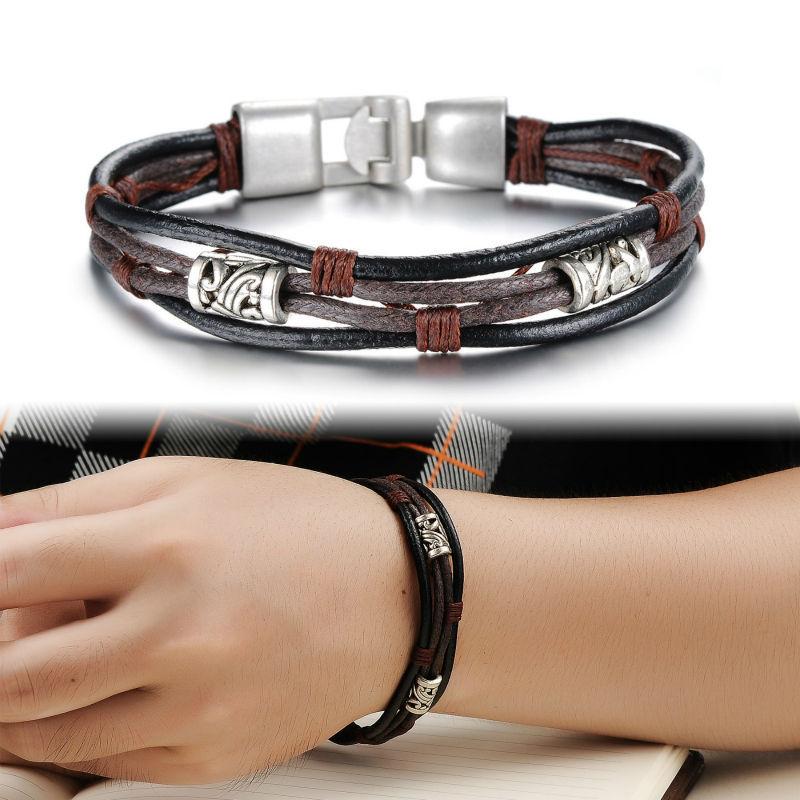 Free Shipping Fashion Men Male Punk Jewelry Rope Chain Genuine Leather Bracelets Charm Bangle High Quality