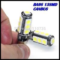 2015 NEWS!! Free shipping 50PCS/lot Car Auto LED ba9s led 194 W5W Canbus 13smd 5050 LED Light Bulb No error led light