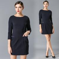 XL-4XL Brand 2015 Spring Elegant Women Blue Beaded Bow Pocket Vintage Dresses Office Ladies Work Dress Plus Size Clothing XXXXL