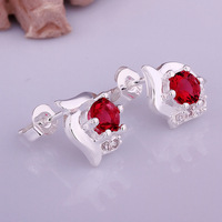 Free Shipping 925 Silver Crystal Earrings,Fashion Silver Plated Rhinestone Earrings,Wholesale Fashion Jewelry,KNCE491